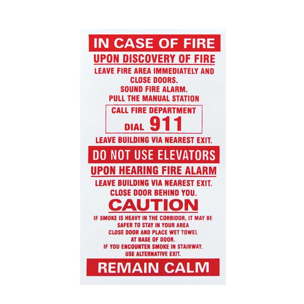 Sticker In Case Of Fire Single Stage White H Amp S