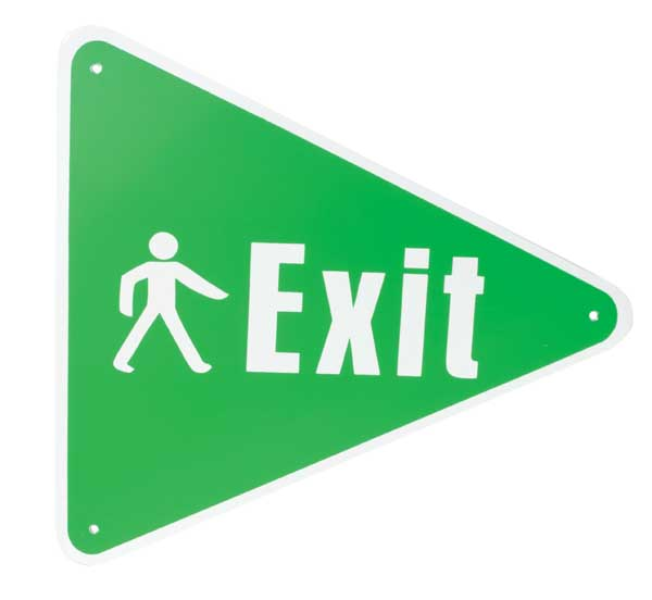 Sign Pedestrian Exit Triangle Right H Amp S Building Supplies